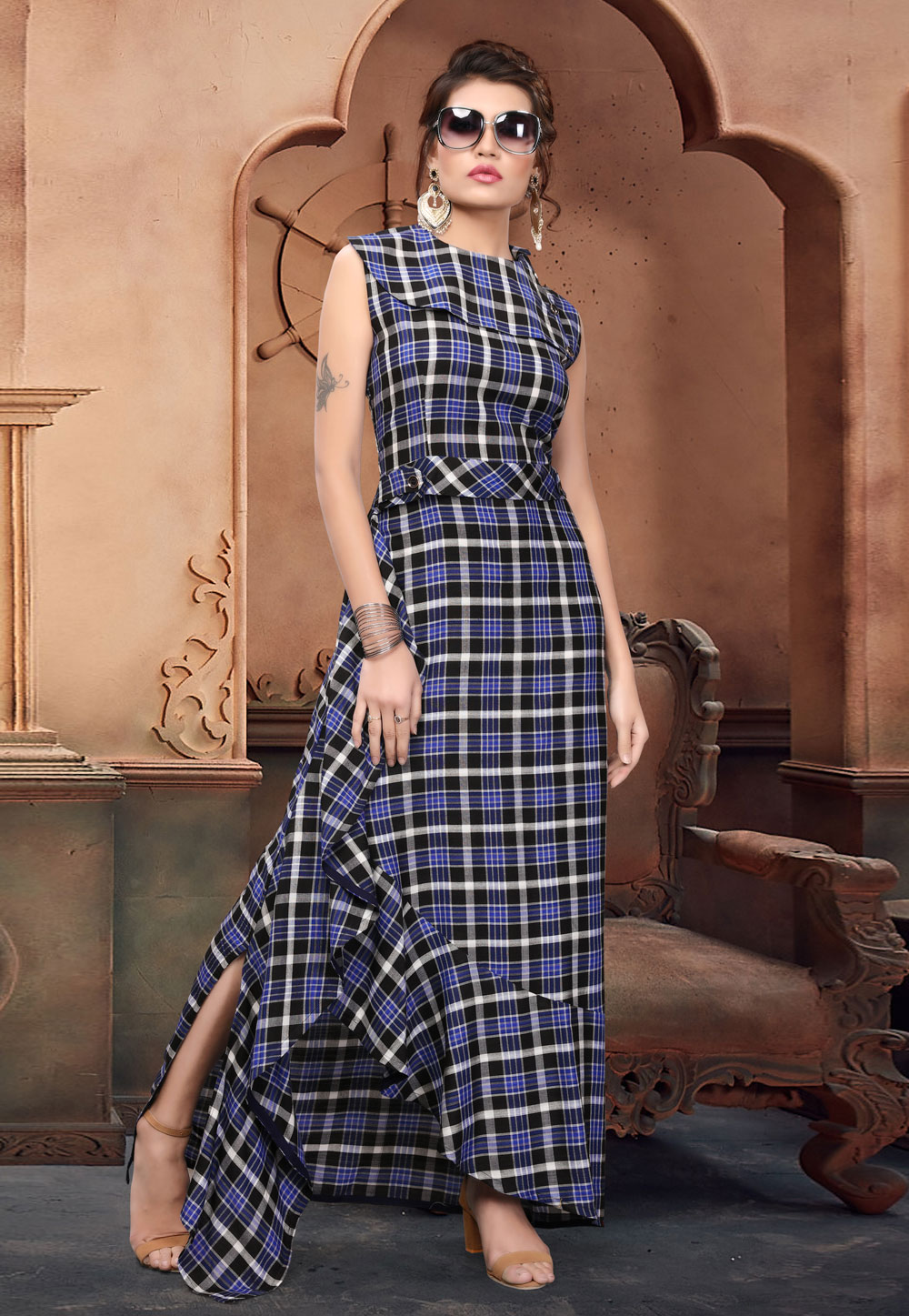 Blue Cotton Readymade Gown 166897
