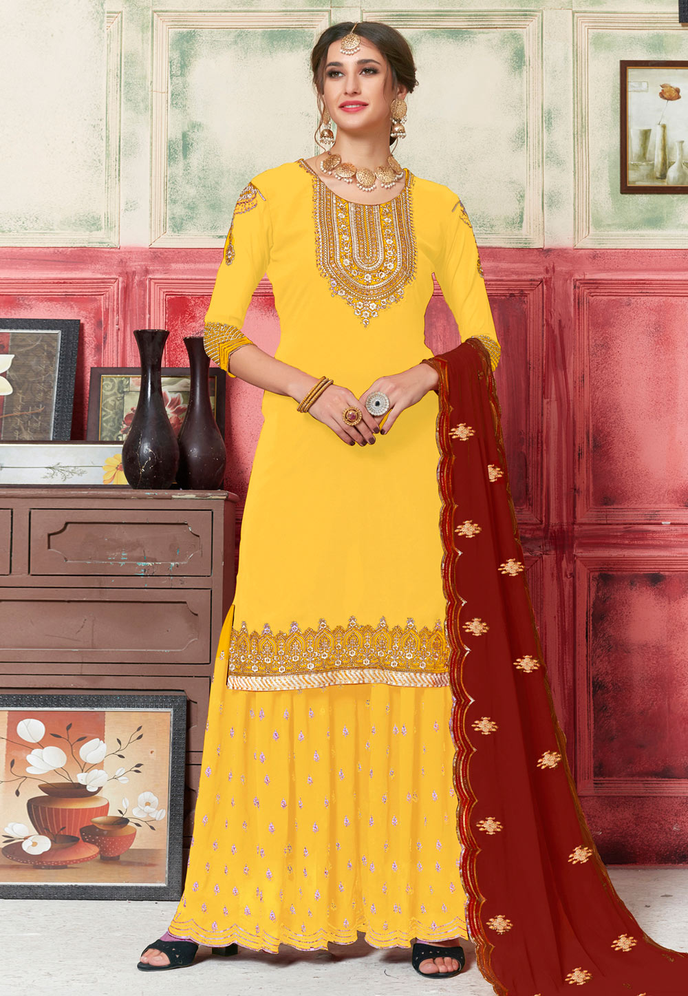 Yellow Georgette Embroidered Sharara Suit 182743