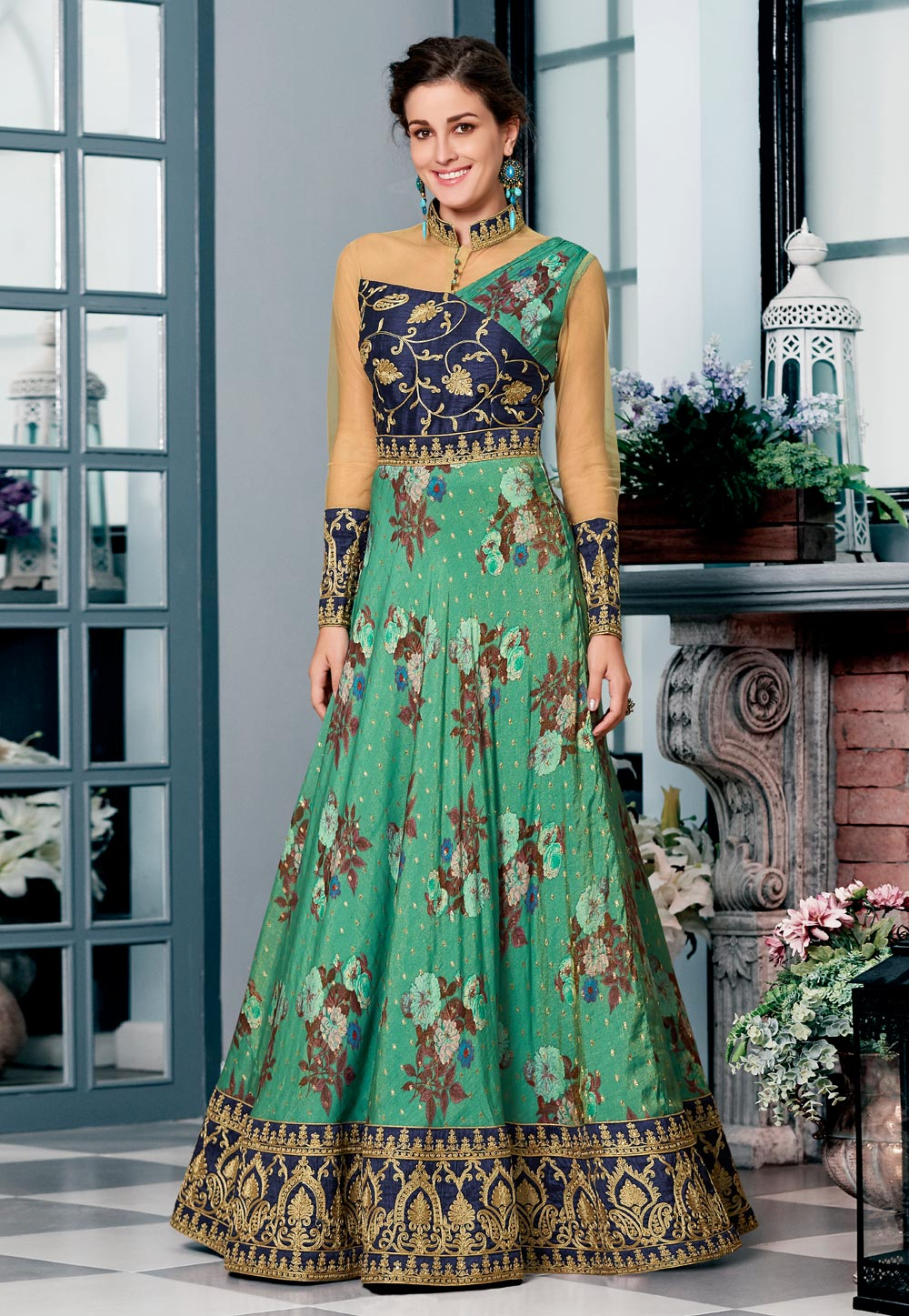 Green Silk Printed Gown 163816