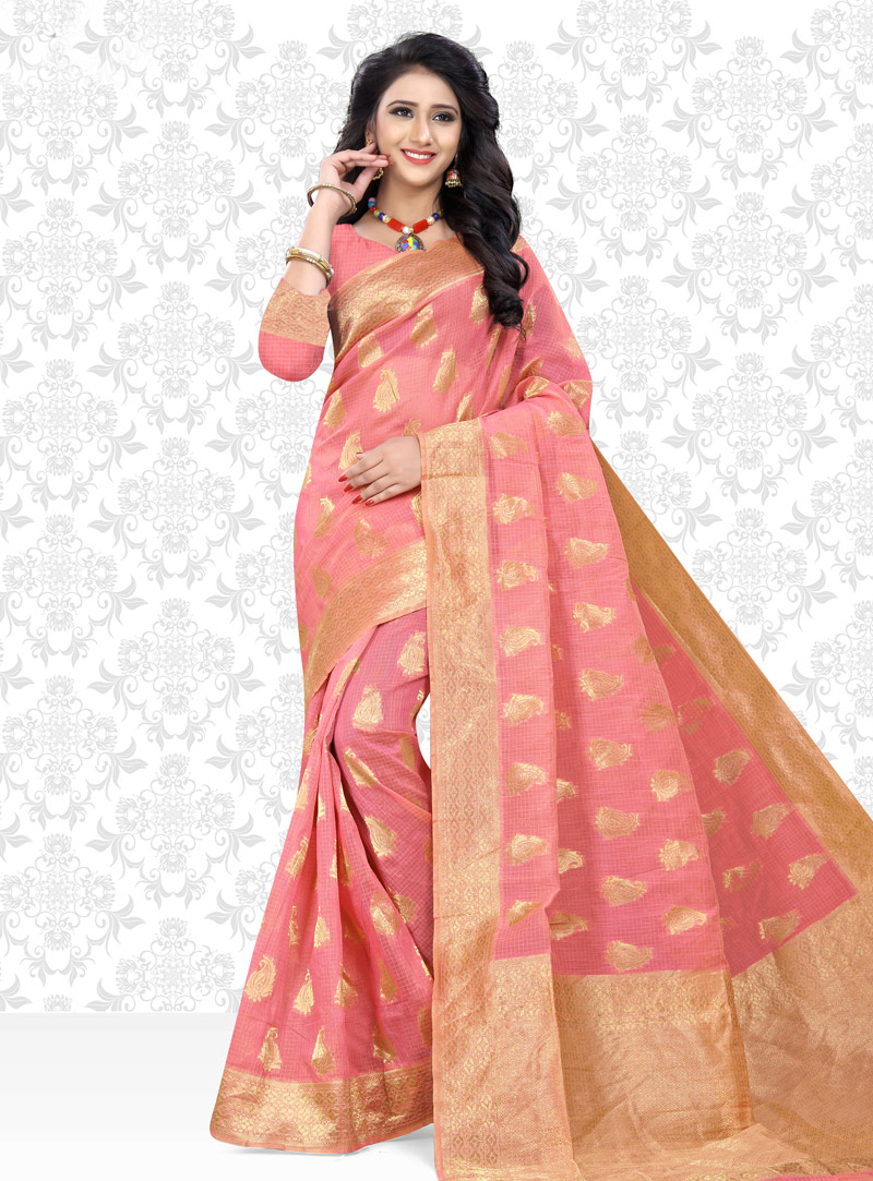 Pink Net Saree With Blouse 153431