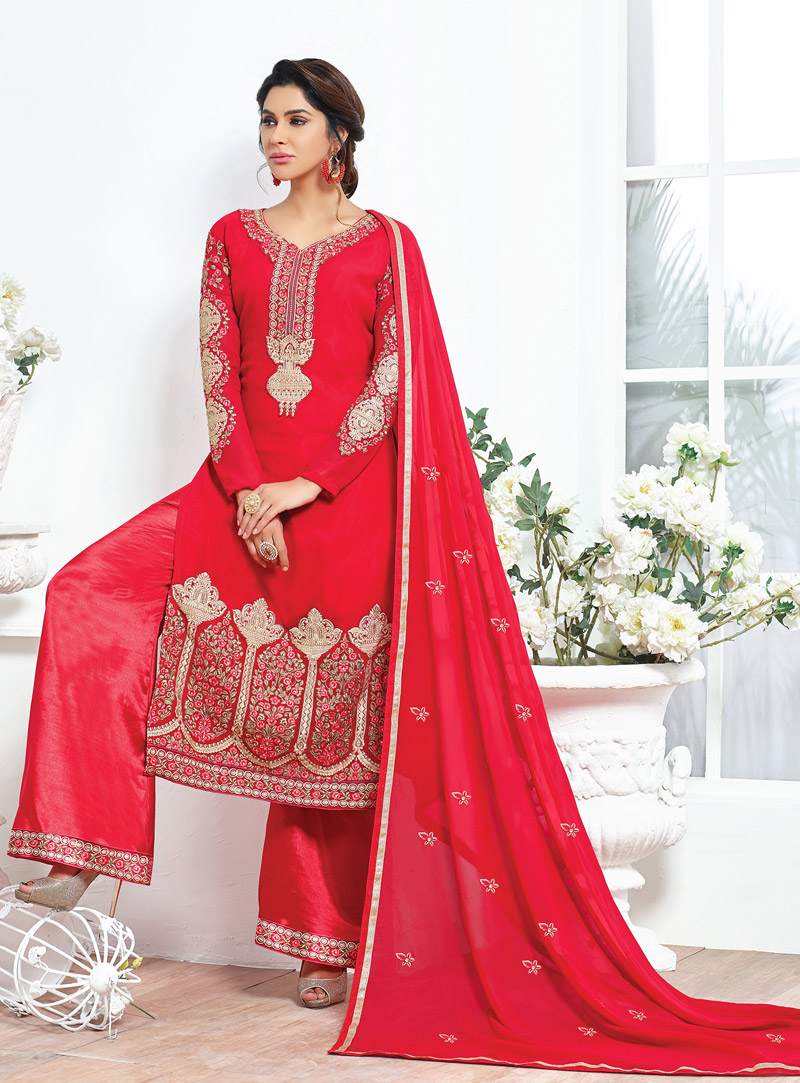 Red Georgette Pakistani Style Suit 92673