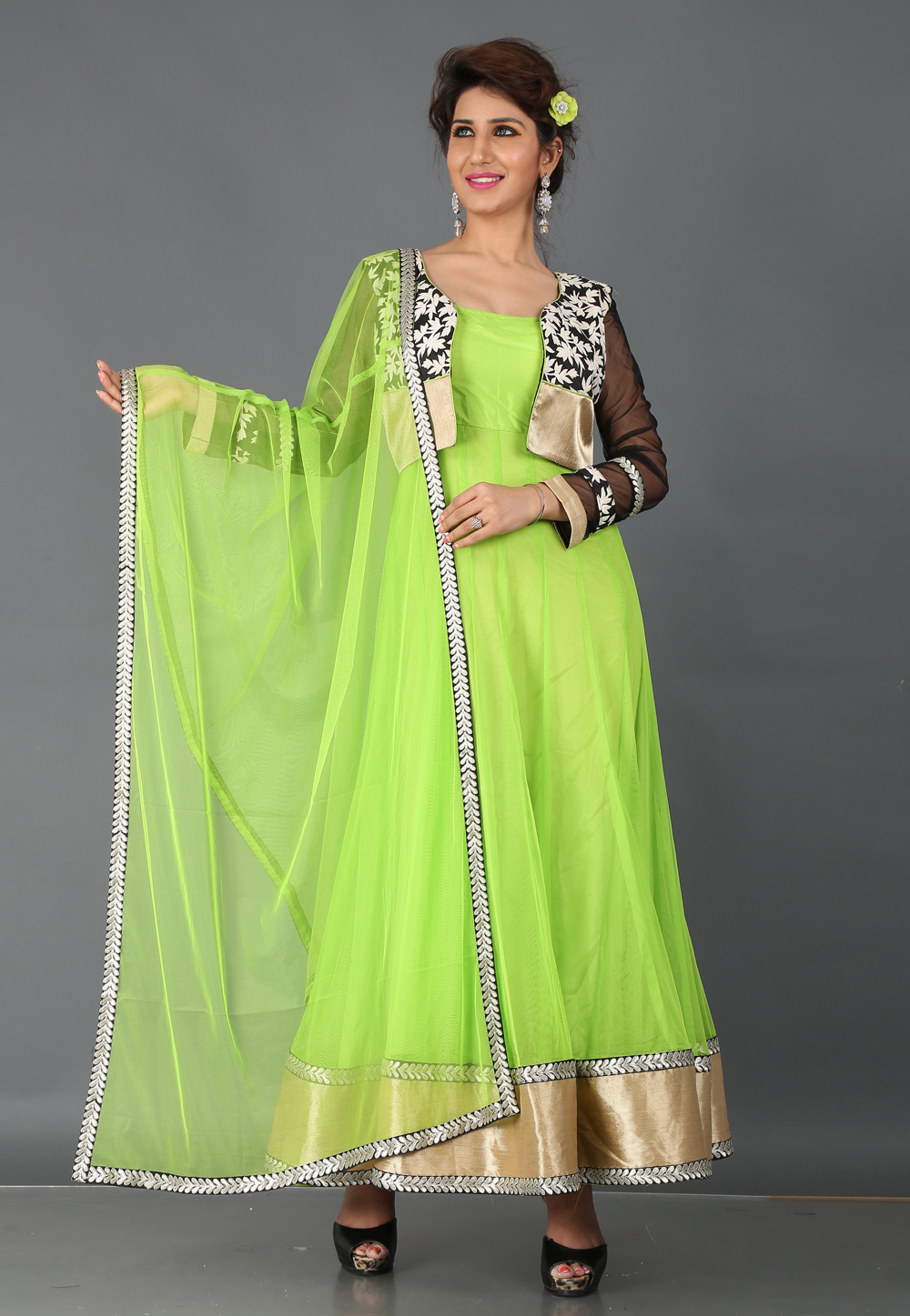 Green Soft Net Designer Party Wear Gown With Jacket 64290