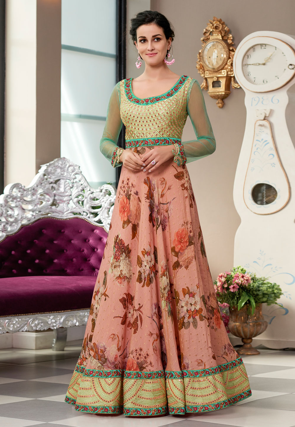 Pink Silk Embroidered Gown 163818