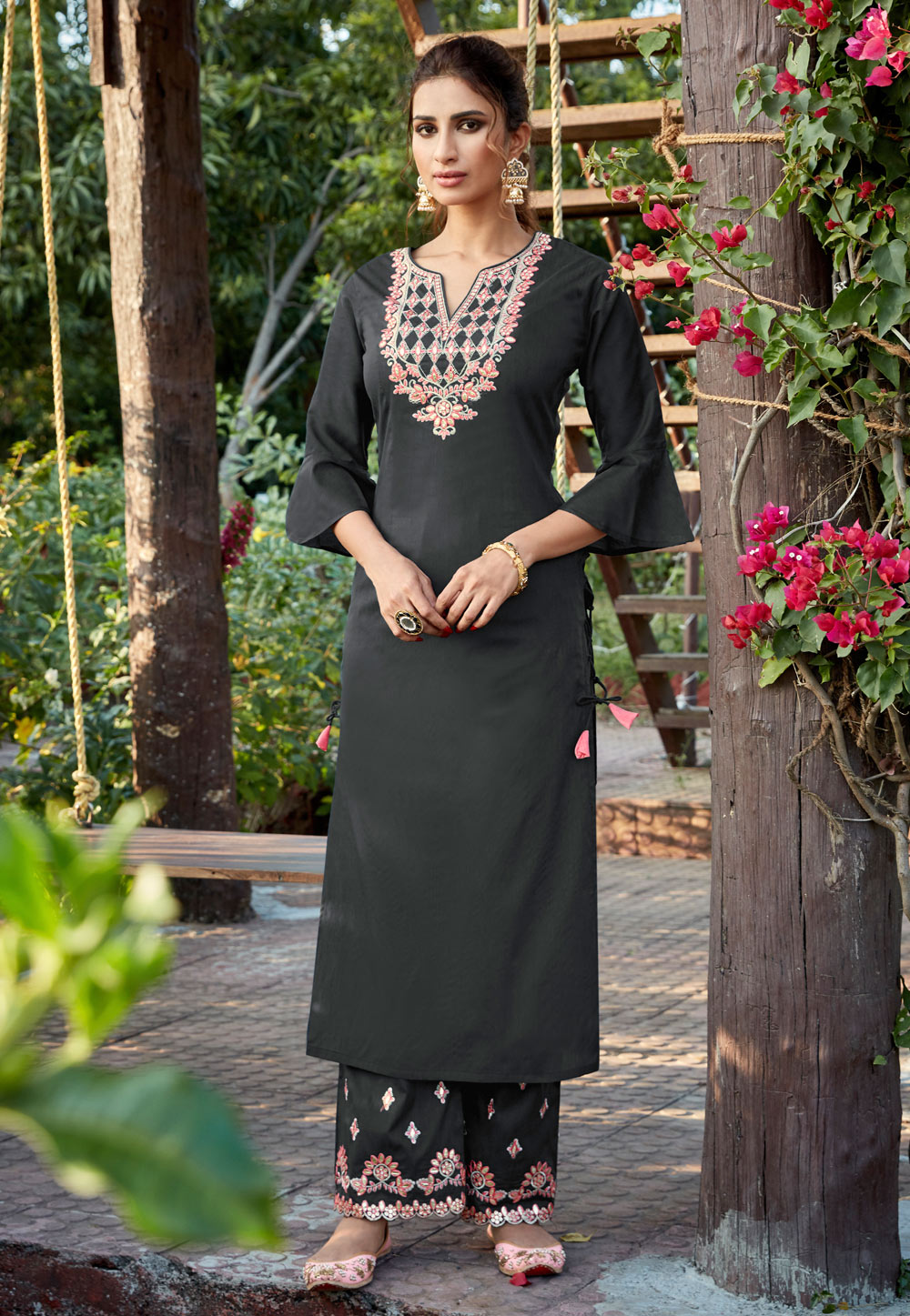 Grey Cotton Readymade Kameez With Palazzo 196251