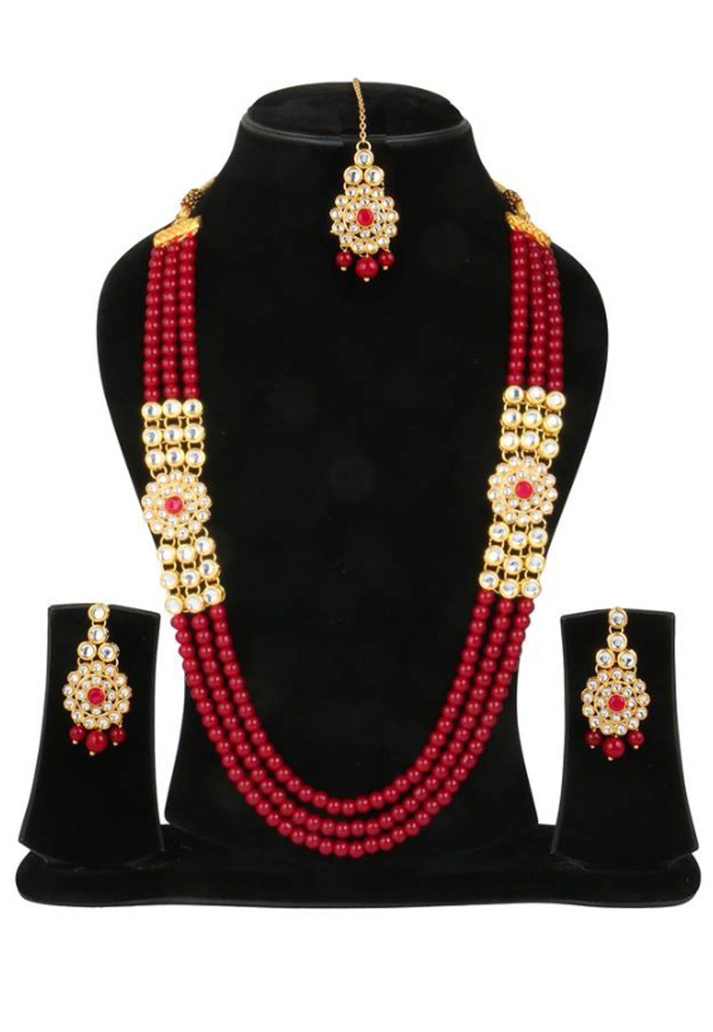 Red Alloy Austrian Diamond Necklace Set Earrings and Maang Tikka 187799