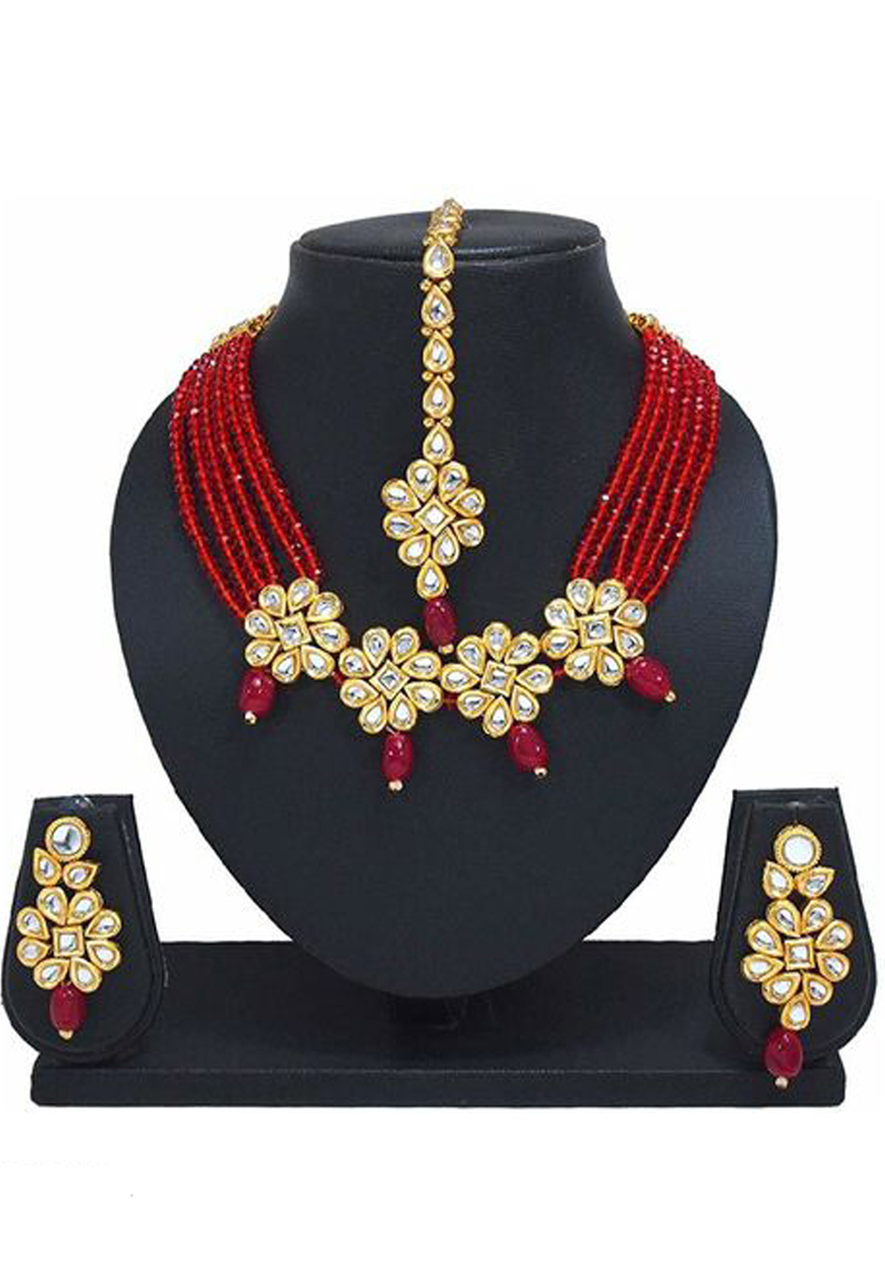Red Alloy Austrian Diamond Necklace Set Earrings and Maang Tikka 187800