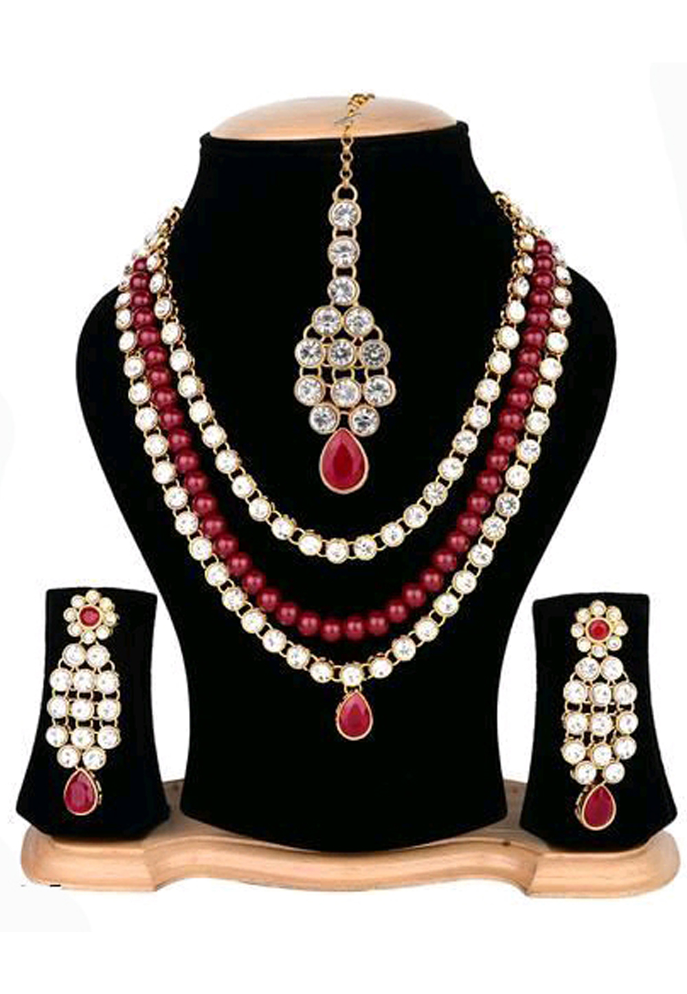 Red Alloy Austrian Diamond Necklace Set Earrings and Maang Tikka 187801