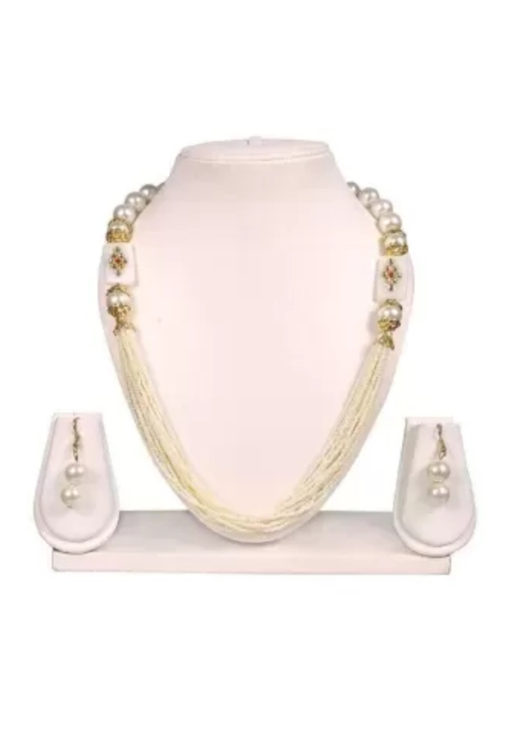 White Alloy Austrian Diamond Necklace Set Earrings 187806