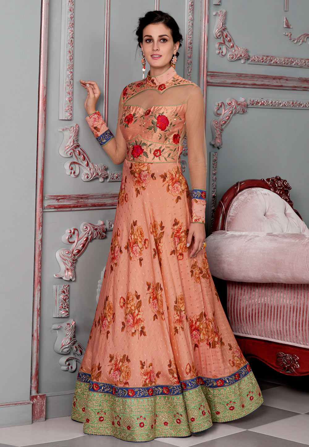 Peach Silk Embroidered Gown 163822