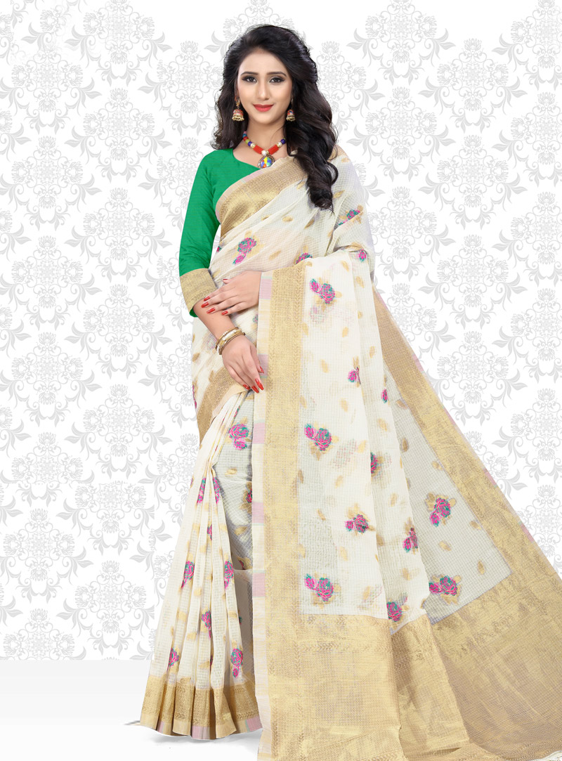 White Net Saree With Blouse 153434