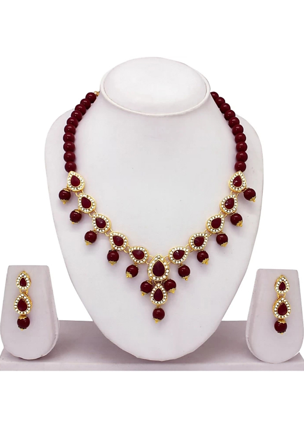 Red Alloy Austrian Diamond Necklace Set Earrings 187808