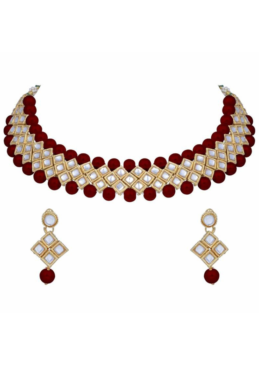 Red Alloy Austrian Diamond Necklace Set Earrings 187810