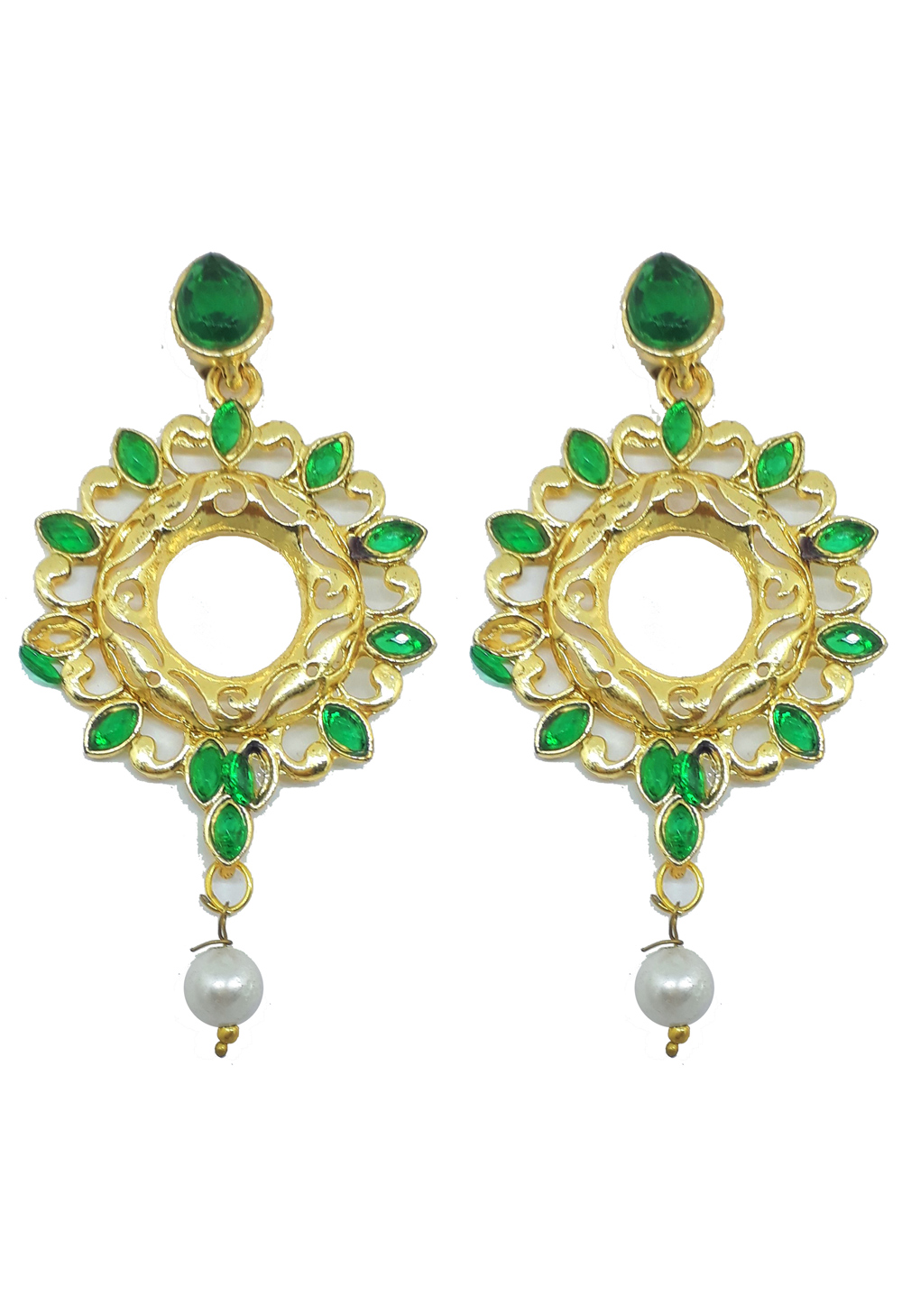 Green Brass Earrings 187642