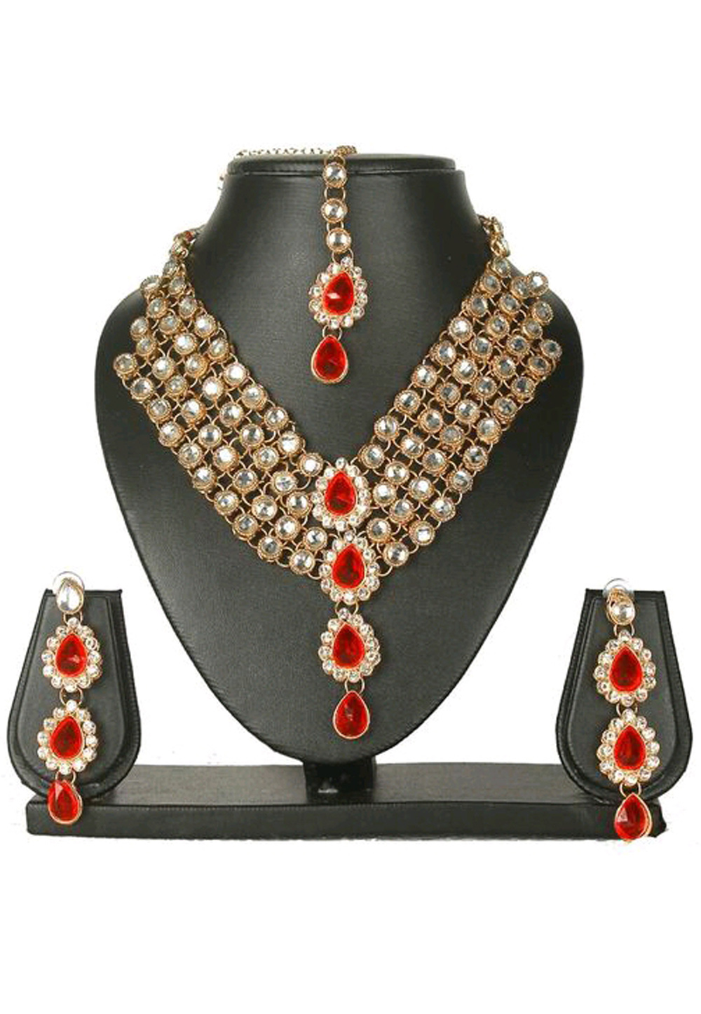 Red Alloy Austrian Diamond Necklace Set Earrings and Maang Tikka 187824