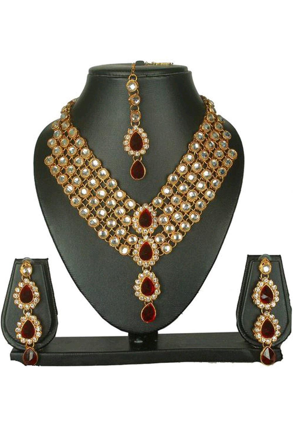 Maroon Alloy Austrian Diamond Necklace Set Earrings and Maang Tikka 187826