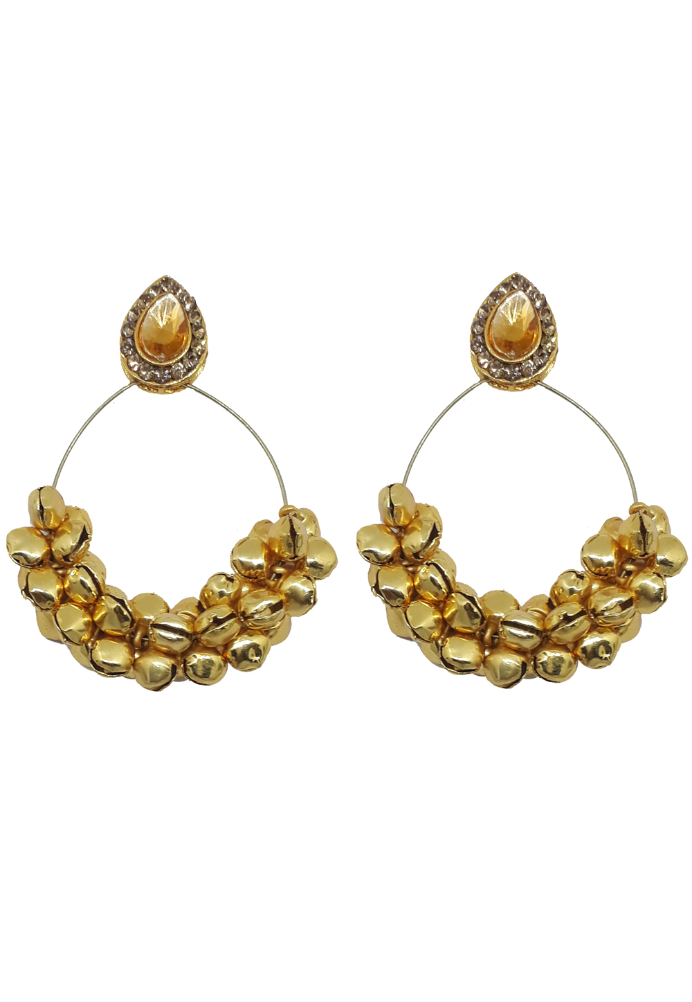 Golden Brass Earrings 187649