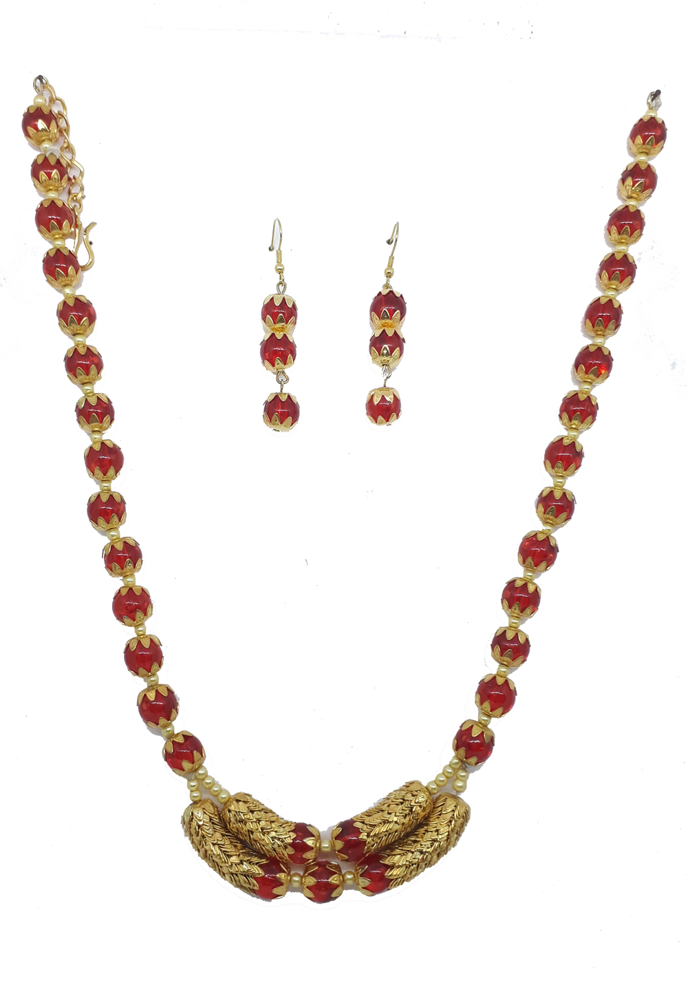 Red Alloy Austrian Diamonds Necklace With Earrings 187651