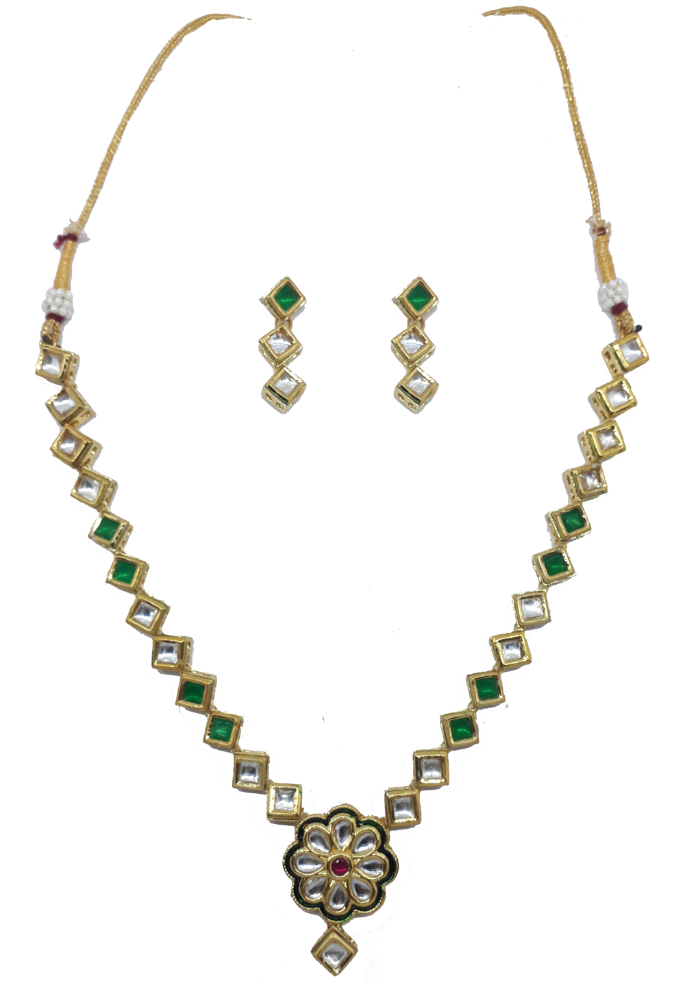 Green Alloy Austrian Diamonds Necklace With Earrings 187652