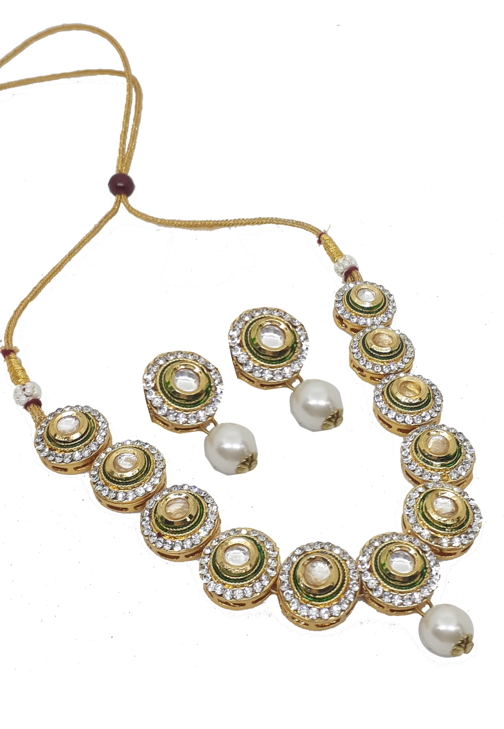 Green Alloy Austrian Diamonds Necklace With Earrings 187655