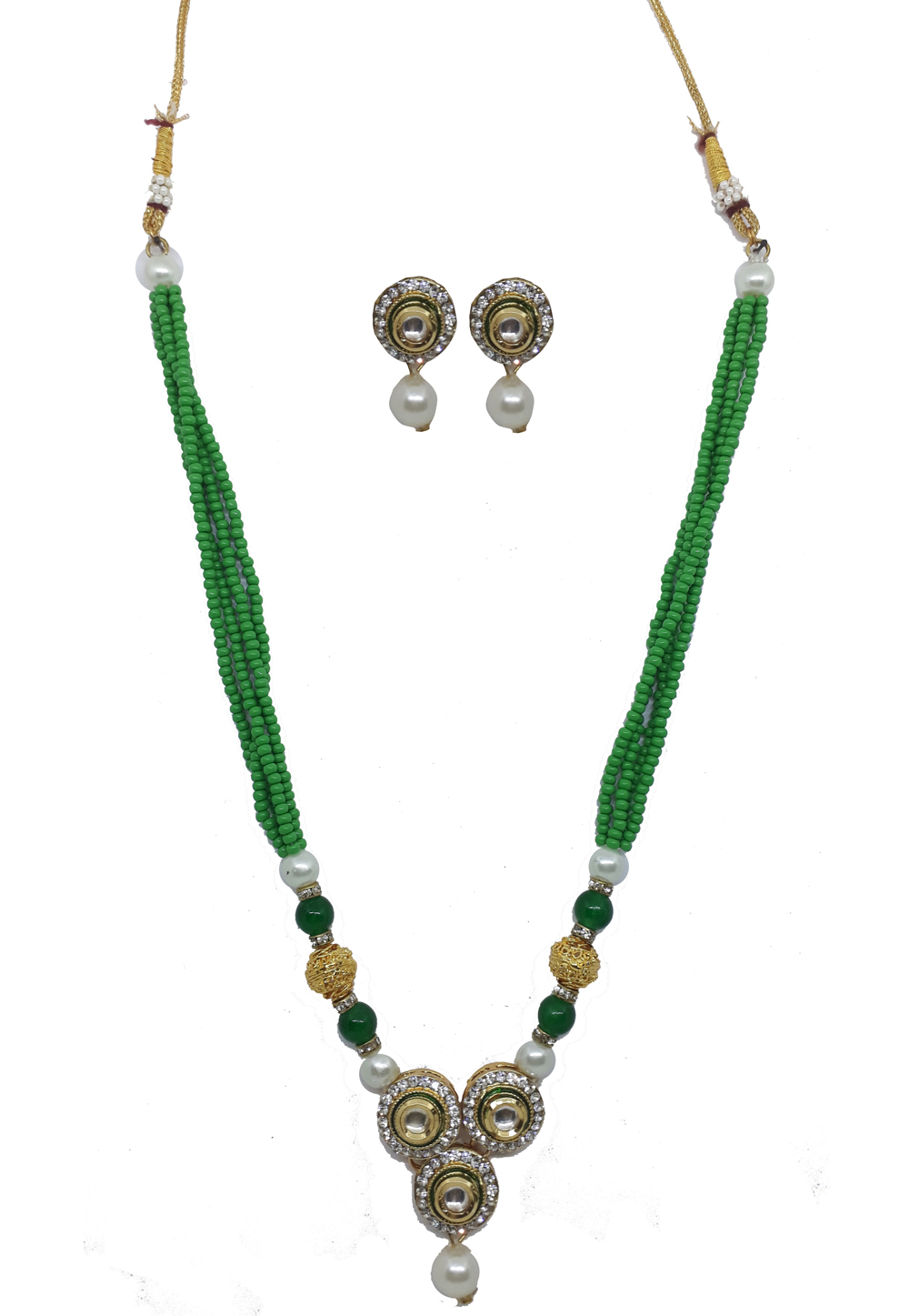 Green Alloy Austrian Diamonds Necklace With Earrings 187656