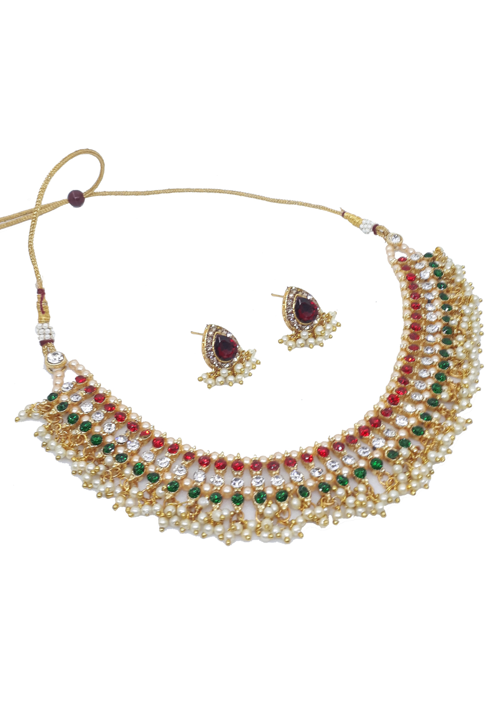 Green Alloy Austrian Diamonds Necklace With Earrings 187657