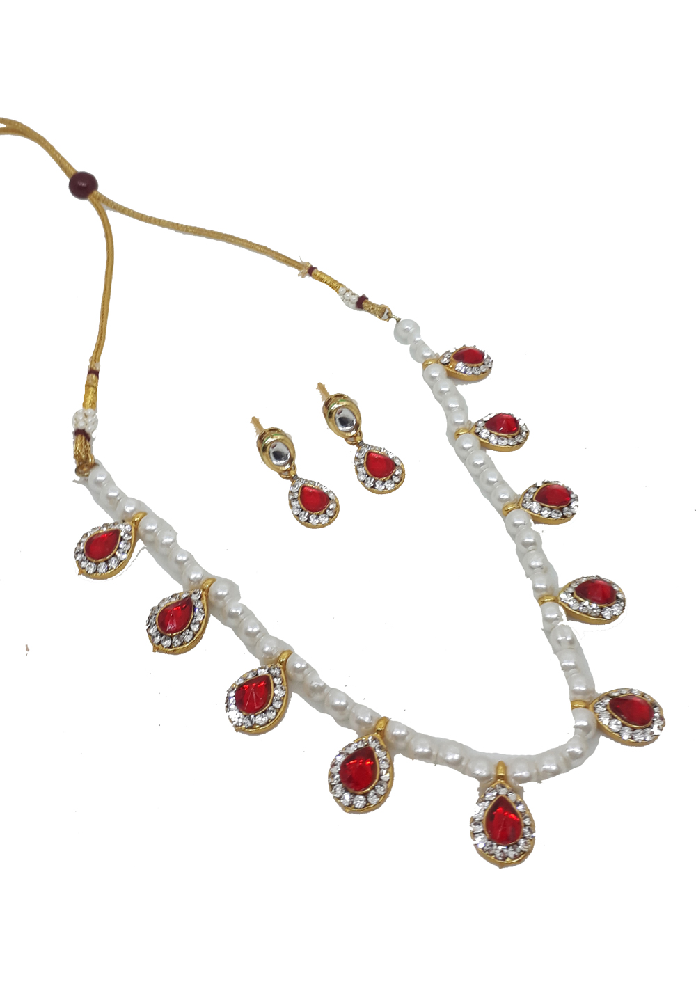 Red Alloy Austrian Diamonds Necklace With Earrings 187658