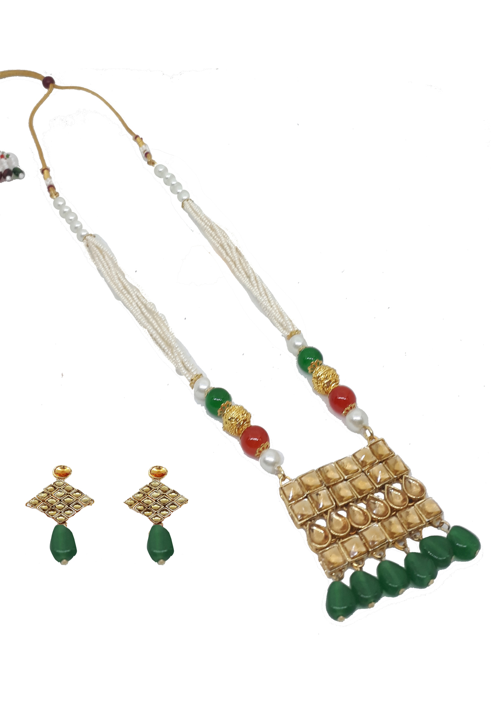 Green Alloy Austrian Diamonds Necklace With Earrings 187661