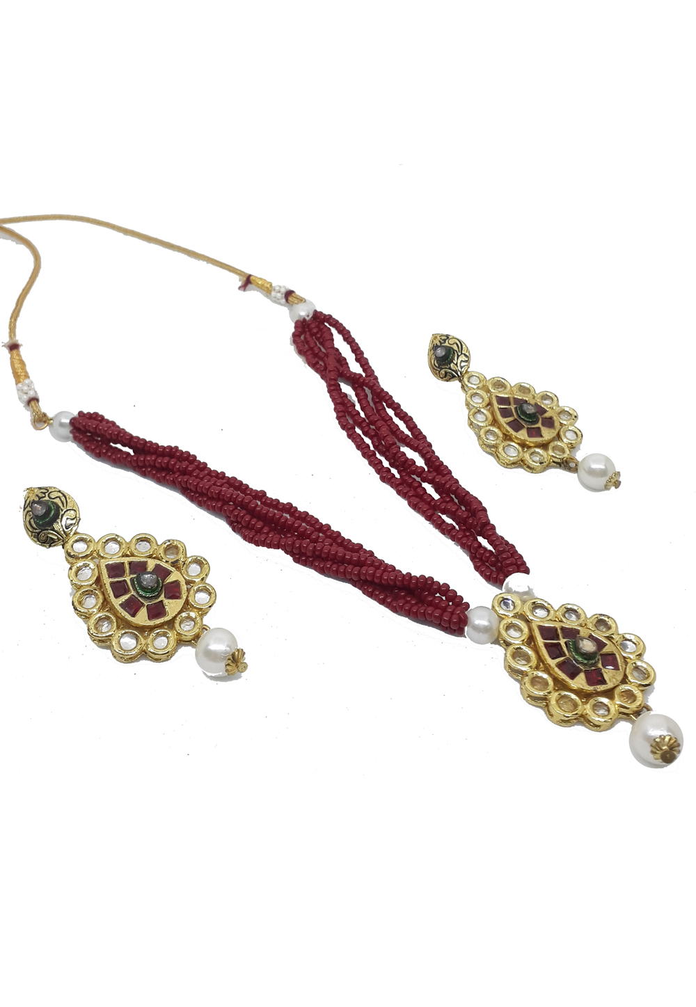 Maroon Alloy Austrian Diamonds Necklace With Earrings 187662