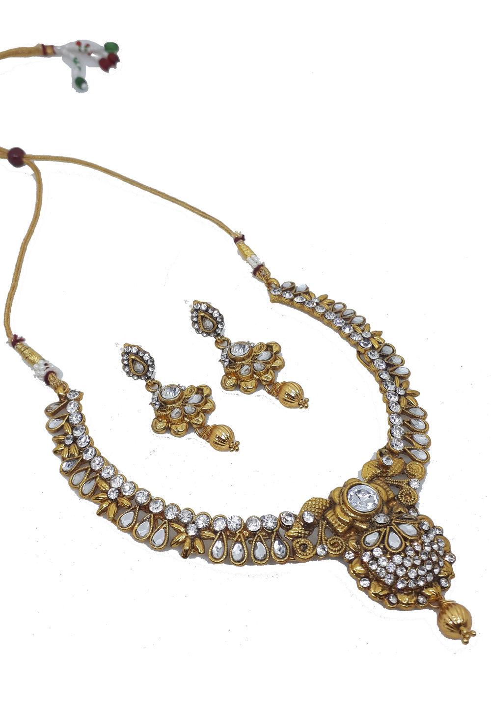 White Alloy Austrian Diamonds Necklace With Earrings 187664