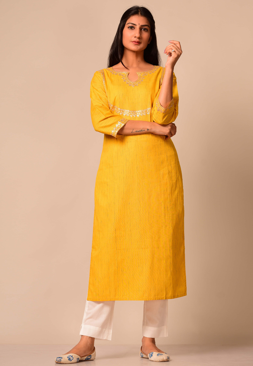 Yellow Cotton Readymade Tunic 207340