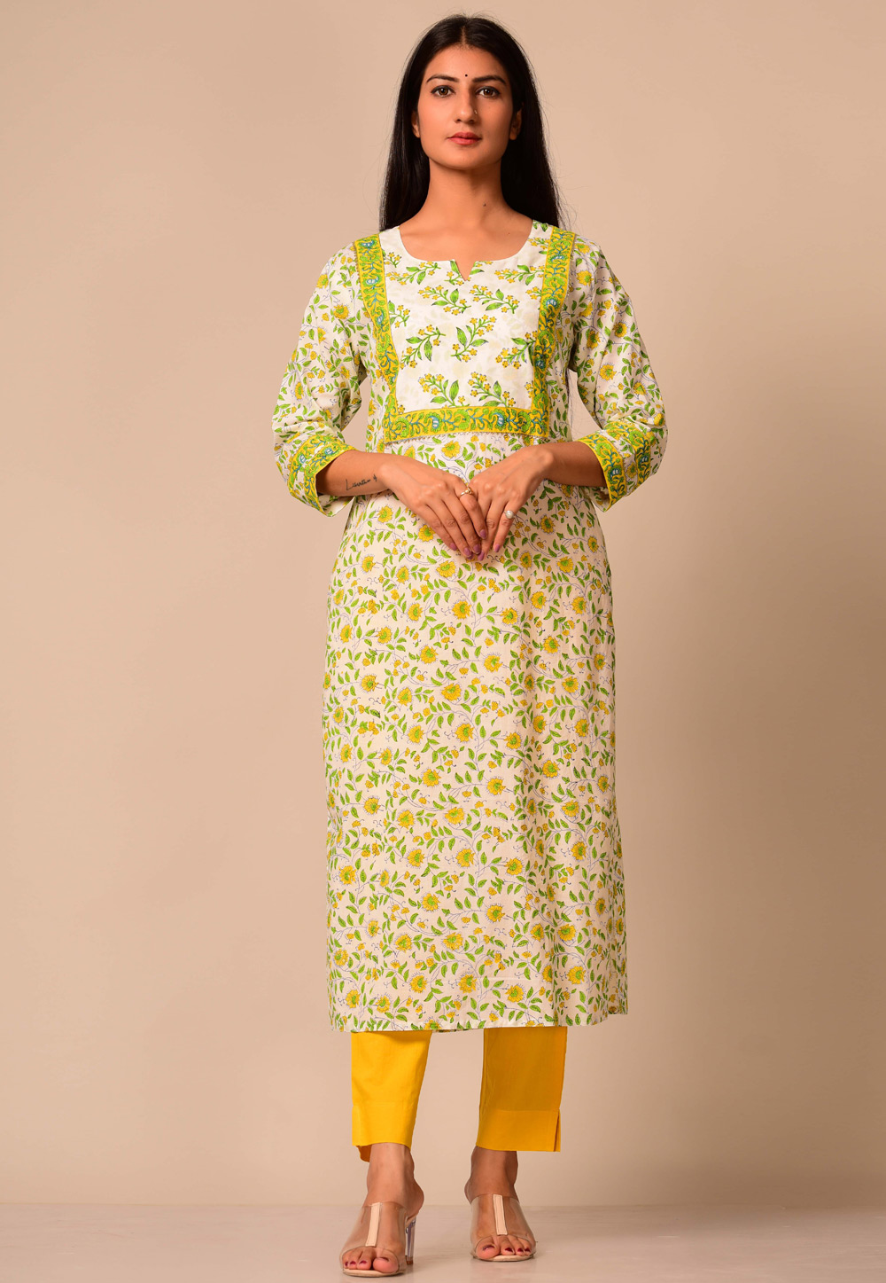 Off White Cotton Readymade Printed Tunic 207342