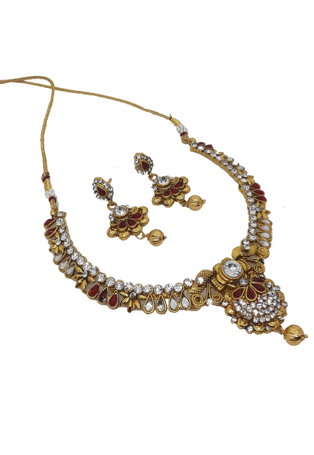 White Alloy Austrian Diamonds Necklace With Earrings 187665