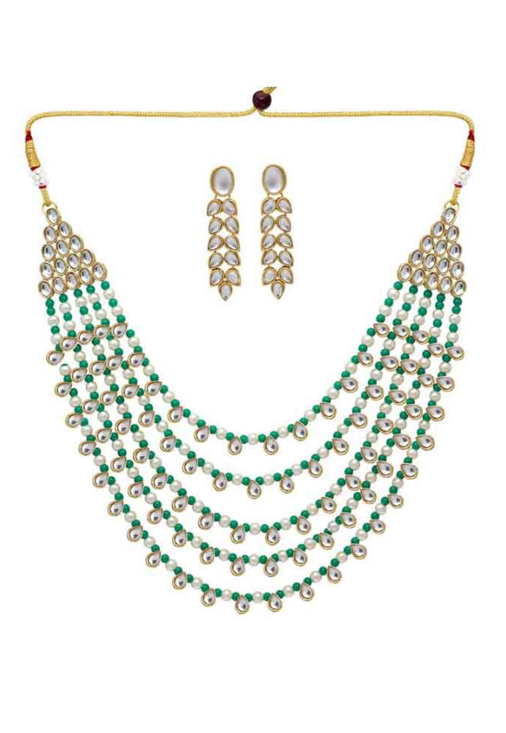 Green Alloy Austrian Diamonds Necklace With Earrings 187670