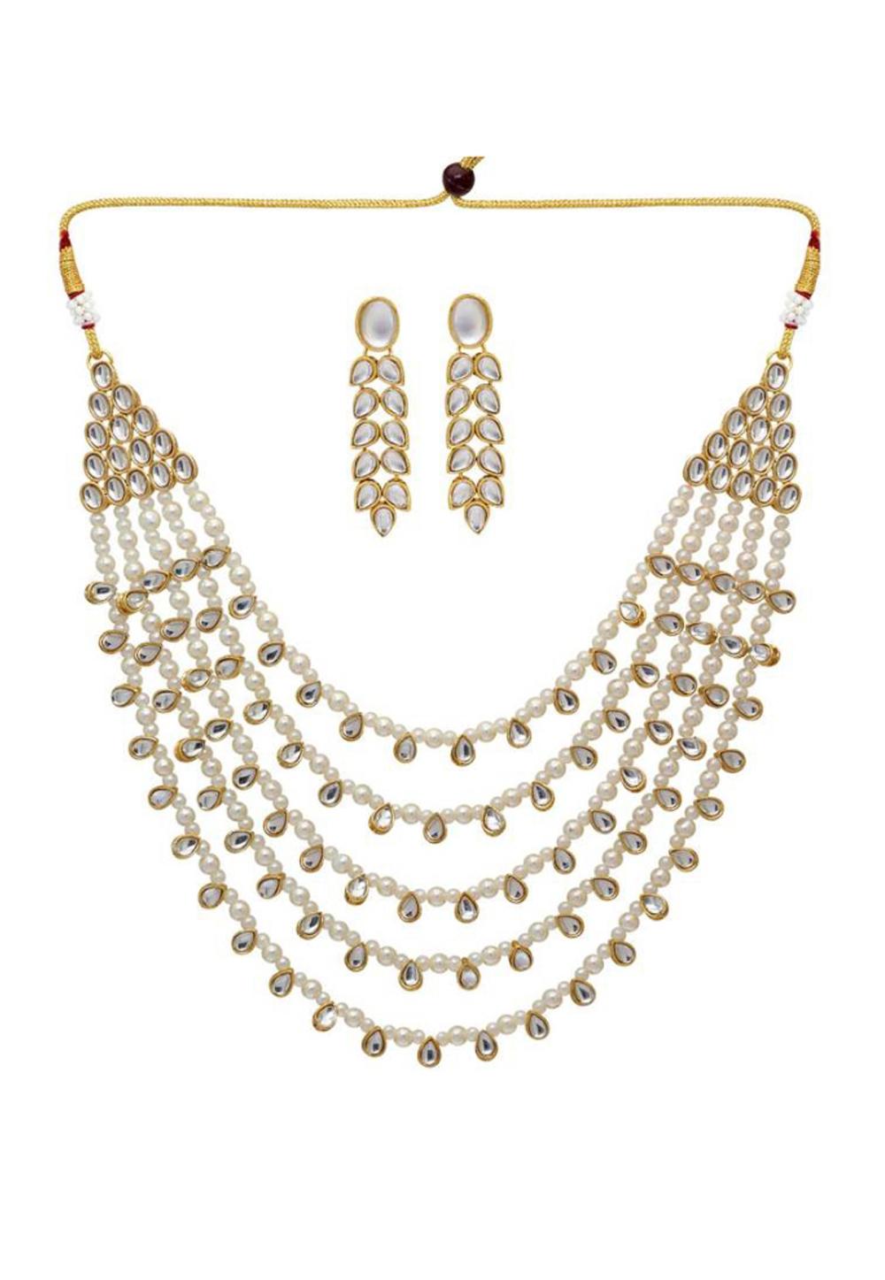 White Alloy Austrian Diamonds Necklace With Earrings 187671