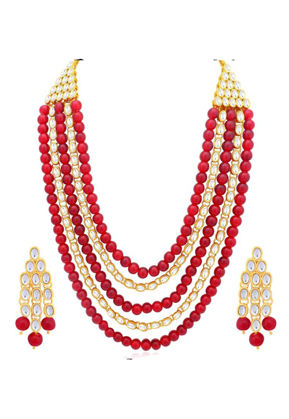 Red Alloy Austrian Diamonds Necklace With Earrings 187672
