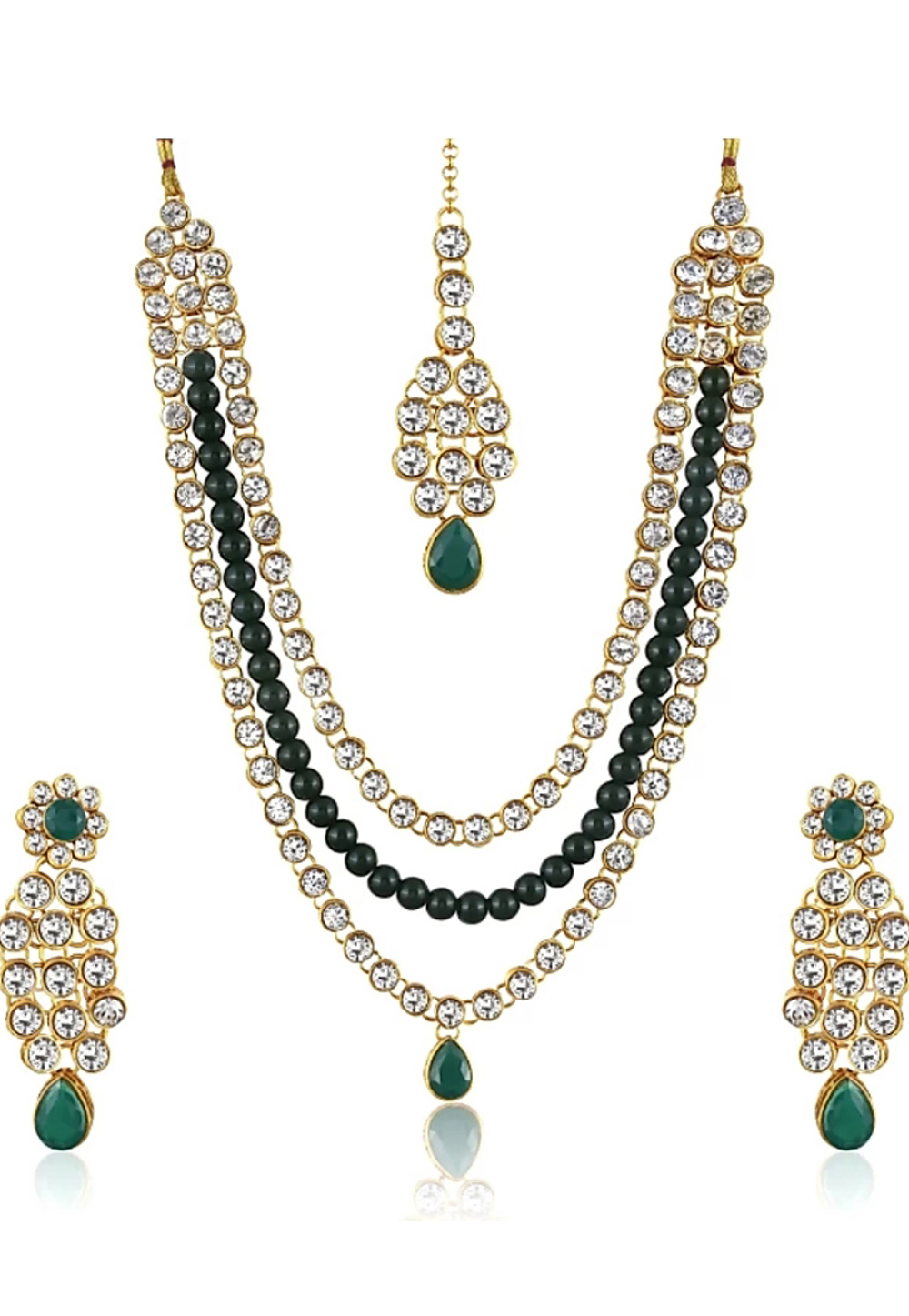 Green Alloy Austrian Diamonds Necklace With Earrings 187674