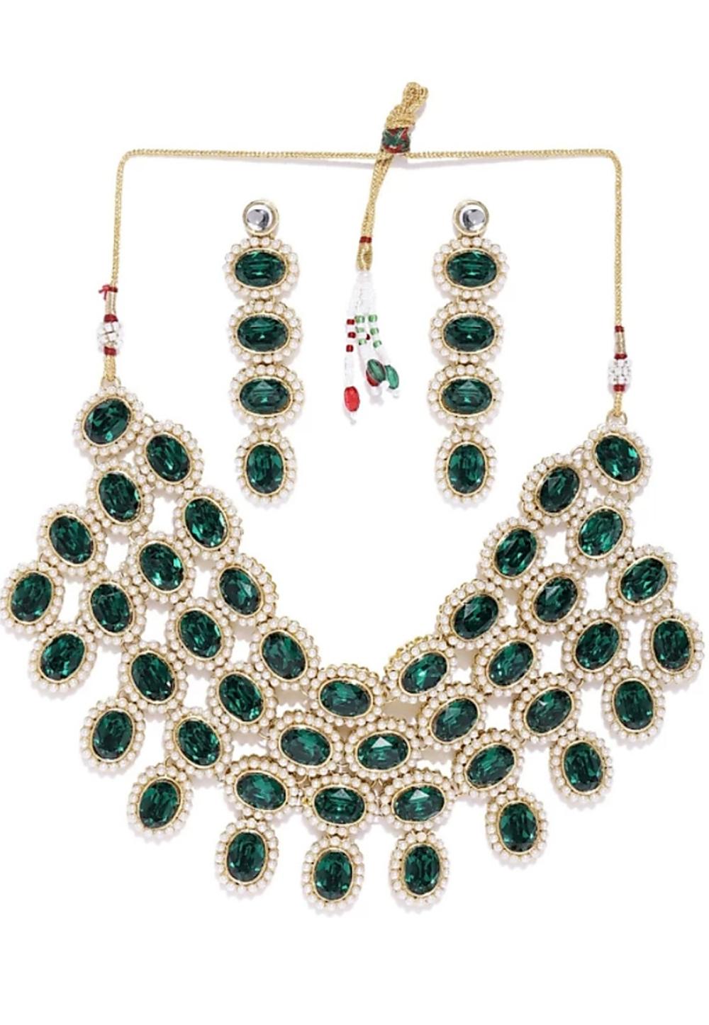 Green Alloy Austrian Diamonds Necklace With Earrings 187675