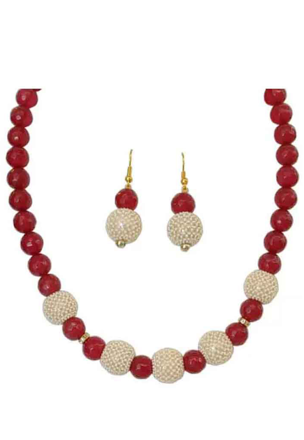 Red Alloy Austrian Diamonds Necklace With Earrings 187677