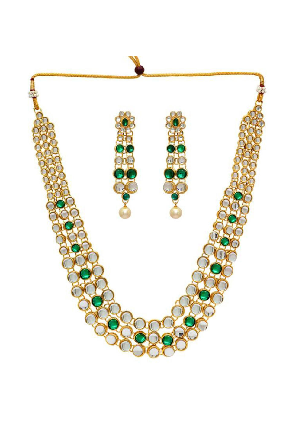 Green Alloy Austrian Diamonds Necklace With Earrings 187679