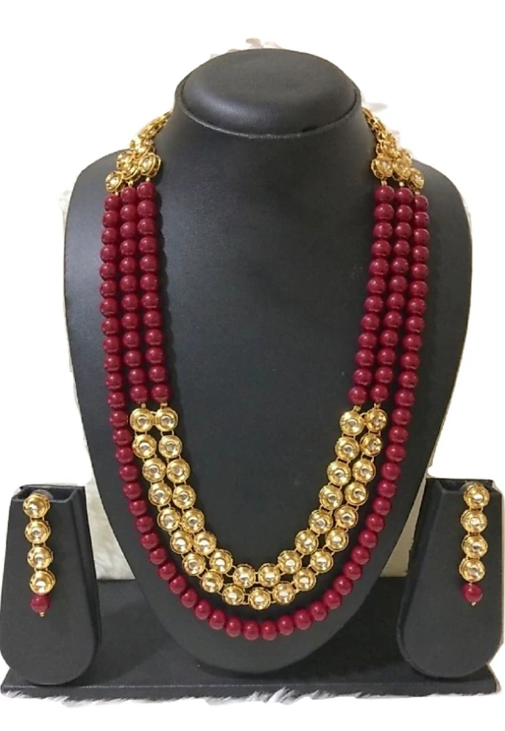 Maroon Alloy Austrian Diamonds Necklace With Earrings 187680