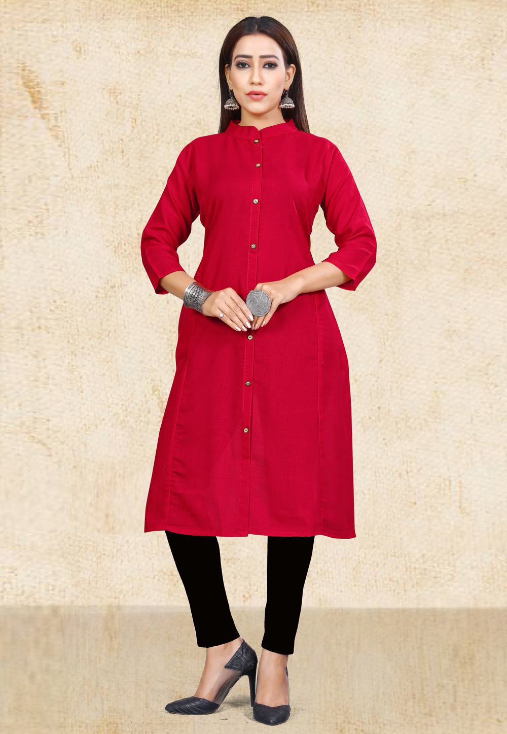 Red Cotton Readymade Tunic 167483