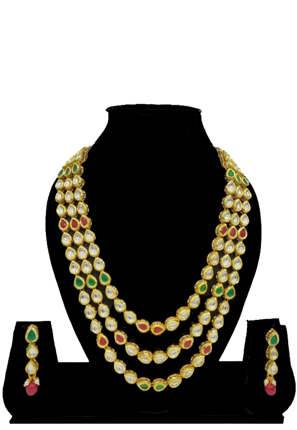 Green Alloy Austrian Diamonds Necklace With Earrings 187683