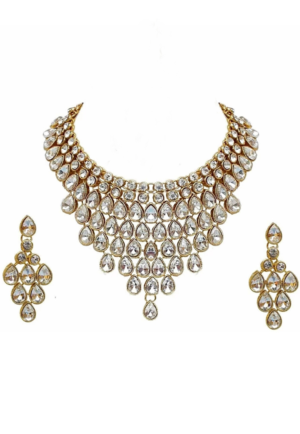 White Alloy Austrian Diamonds Necklace With Earrings 187684