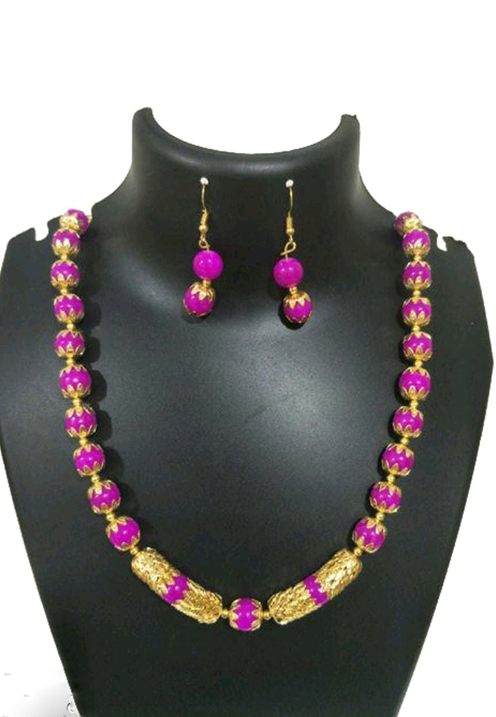 Pink Alloy Austrian Diamond Necklace Set Earrings 191584