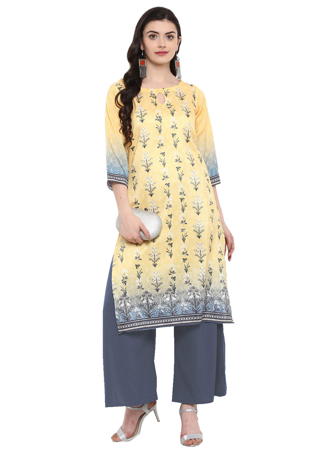 Yellow Poly Silk Readymade Printed Tunic 207612