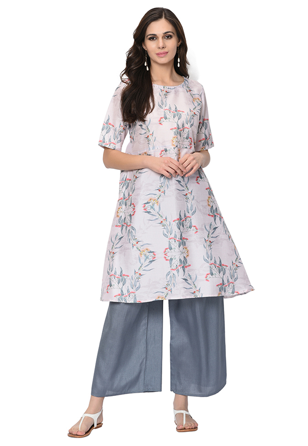 Off White Poly Silk Readymade Printed Tunic 207620
