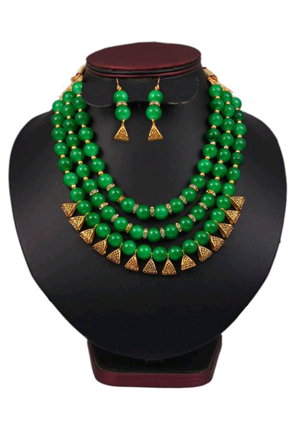 Green Alloy Austrian Diamond Necklace Set Earrings 191589