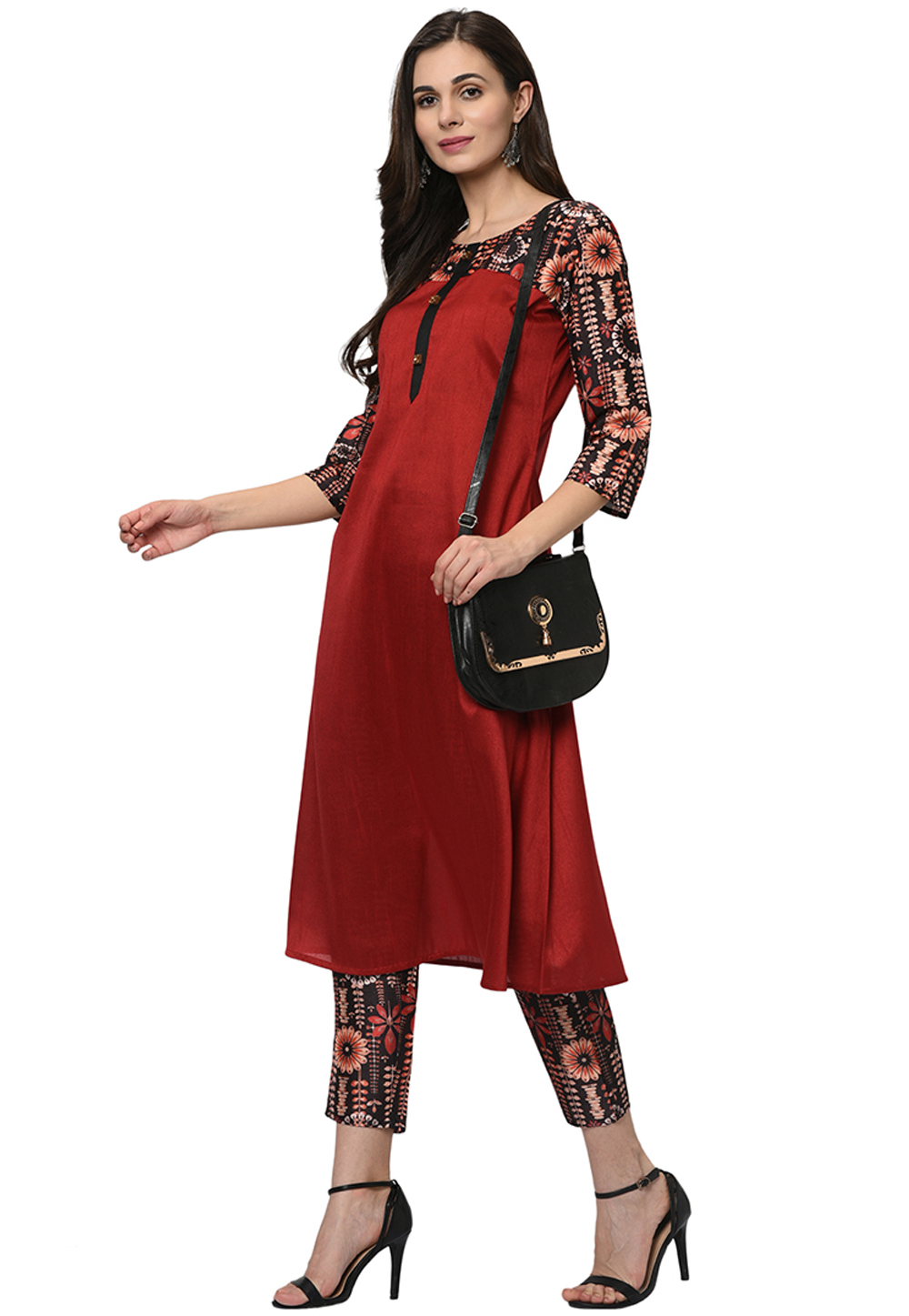 Red Poly Silk Readymade Printed Kurti 207627
