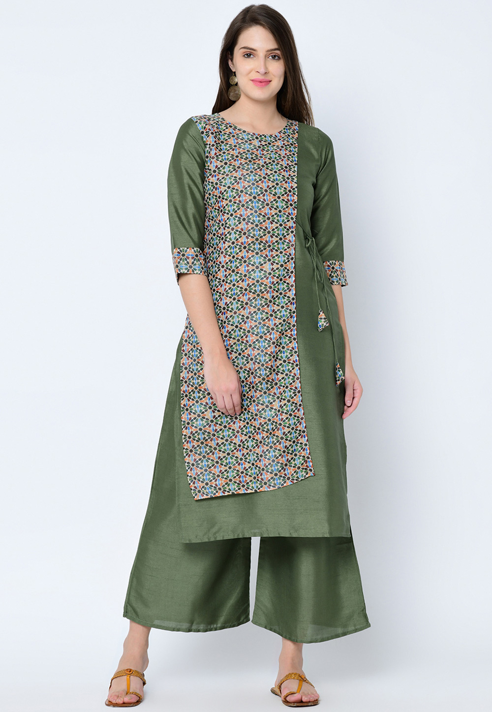 Green Art Silk Readymade Printed Tunic 207632