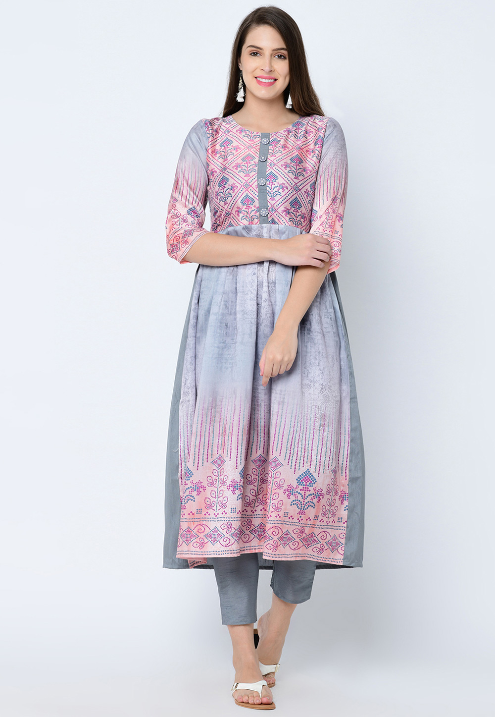 Grey Art Silk Readymade Printed Kurti 207635